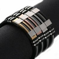 Men's Stainless Steel Silicone Leather WristBand Punk Style Bracelet Bangle Gift