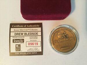 Drew Bledsoe Highland Mint Drew Bledsoe Bronze Coin velvet case & COA PATRIOTS