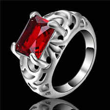Size 7 graceful Red Ruby Wedding Band Ring white Rhodium Plated Jewelry