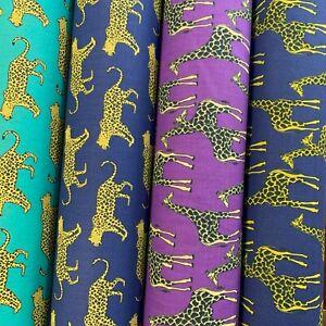 "Polycotton Fabric - Animal Designs- Giraffe, Leopard, Fox 44""/112cm by the Metre"