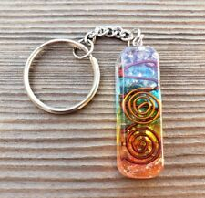 ORGONE 7 CHAKRA LAYERED GEMSTONE RECTANGLE KEYCHAIN ORGONITE (ONE)