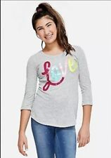 Justice Girl's Size 14-16 LOVE Flip Sequin  Top New with Tags
