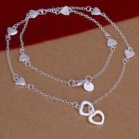 Damen Halskette mit Herz Anhänger Herzkette 925 Sterling Silber plattiert