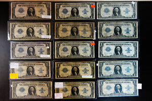 US Paper Money 1923 Lot of 15 $1 Large Size Silver Certificate Notes NO RESERVE!