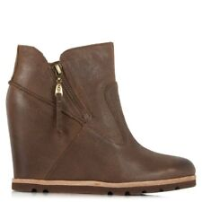 UGG® AUSTRALIA MYRNA BROWN LEATHER WEDGE ANKLE BOOTS UK 5.5 EUR 38 BNIB RRP £150