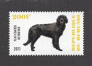 Dog Art Full Body Portrait Postage Stamp FLAT COATED RETRIEVER Burundi 2011 MNH