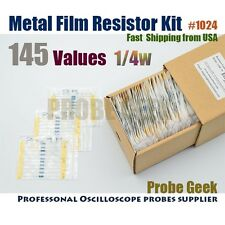 145  Values Total 10pcs each 1% 1/4W Metal Film Resistor Assortment Kit #1024