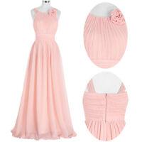Rose Longue robe du soir Mariage Tenue de demoiselle d'honneur bal mariée 32-46