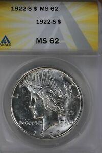 1922-S  $1 ANACS MS 62 Peace Dollar,  1900's Silver Dollar, $1