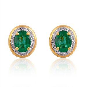 Genuine 4.25 TCW Emerald HI/SI Diamond Stud Earrings 18k Yellow Gold Jewelry NEW