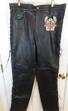 NOS! W/Tags! Oakwood Flying Bikes Black Leather Motorcycle Pants Sz 42 Laces