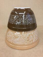 2 Vintage Pyrex Woodland Brown Nesting Mixing Bowls #401 & 402 (750 ml & 1.5L)