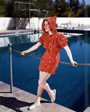 Deanna Durbin Full Length Pose In Red Outfit By Swimming Pool 8x10 Photo
