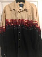 Vintage Wrangler Cowboy Print Western Pearl Snap Shirt Xl Rodeo