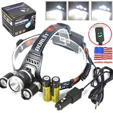 Boruit 12000Lm 3X XML T6+2R5 LED Headlamp Head Light Torch USB 18650+Car Charger