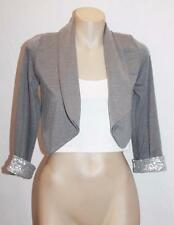 Mini Diva Designer Grey Silver Sequins Long Sleeve Jacket Size S #SV106