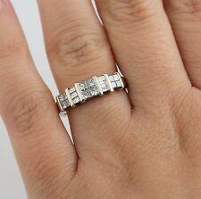 Ladies 14K WG .84 CTW 1 CT Princess Cut Diamond Wedding Band Anniversary Ring