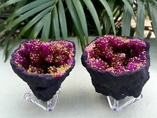 Pink Geode Pair With Stands Crystal Quartz Gemstone Specimen Morocco Geode Dyed