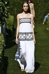 Tory Burch Christie Dress Silk Strapless 6 RUNWAY S  White Hicks NWT