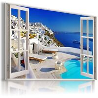 """W417 GREECE 3D Window View Canvas Wall Art Picture Large SIZE 30X20"""""""