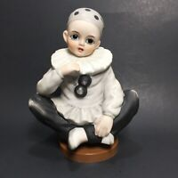 Vintage Pierrot Mann Harlequin Doll Clown Figurine Music Box Made in Japan