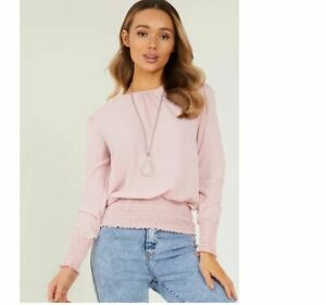 Quiz Womens Pink Bubble Round Neck Top - UK Size 12 - BNWT
