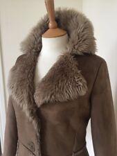 Faux Sheepskin Brown Long Coat Size 8