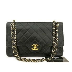 CHANEL Classic Quilted Double Flap 25 Lambskin w/Chain Shoulder Bag Black /81336