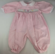 Petit Ami Pink and White Smocked Romper Newborn Embroidered