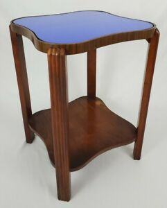 Vintage Art Deco Table With Blue Mirror Glass Top Kidney Accent Mid-Century