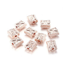 10pcs Alloy Carved Metal Beads Rose Gold Rectangle Loose Spacers Decorative 11mm