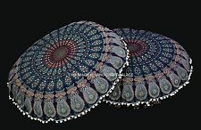 Large Peacock Mandala Cotton Indian Throw Pillow Round Floor Cushion Cover 32""