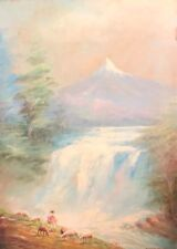Painting By F. Raquel Moncayo Sheep,Cotacachi Ecuador, Volcano, waterfall,forest