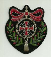 Red Bow Iron Fraternal Cross Laurel Wreath Crest Embroidery Patch