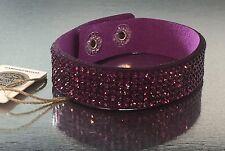 Swarovski Elements Bracelet Crystal Lavender Purple Alcantara Leather Bling Cuff