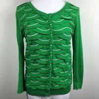 Yellow Bird S Small Cardigan Sweater Green Gray Flap 3/4 Sleeve Snap Up Cotton
