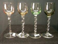 Set of 4 Vintage Cordial Italian Crystal Glasses, Multi Color Twisted Stem