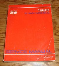 Original 1993 Chevrolet G Van Models Shop Service Manual 93 Chevy