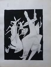 GUY-MAX HIRI (1928-1999) COMPOSITION AU CHEVALIER ENCRE DE CHINE / PAPIER 1960 2