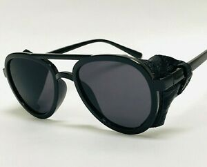Men's Women Sunglasses Vintage Steampunk Side Shields Leather Round Retro Shades