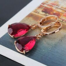 Picturesque luxury pear garnet 18k gold filled modish twinkling dangle earring