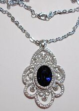 58mm sparkly blue + clear crystals pendant - 22'' chain