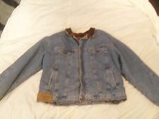 Vintage Classic 90's Marlboro Fleece lined Jean Jacket W/ Leather Collar XL
