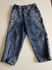 Vtg KONG LOON Acid Washed High Waisted Mom Capris Size Small