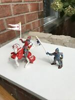 Bullyland Medieval Figure Lot 2 Knights and Horse Germany Hand Painted