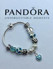 Authentic Pandora Sterling Silver Bracelet with European Charms