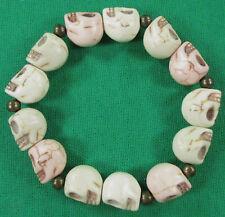 "Women's Pink & White Smiling Skull Bone Stretch Bracelet Fits Wrist up to 6"""