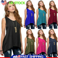 Women Sleeveless Round Neck Swing Tunic Tops Solid Color Vest Tank Top Summer US