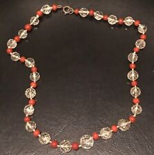 Beautiful Antique Faceted Glass And Coral Bead Necklace
