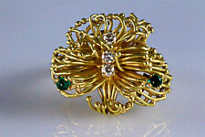 Fancy 18K Yellow Gold F-G Diamond Green Emerald Cocktail Ring ITALY